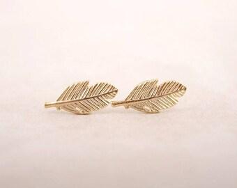 Stud Earrings minimalist feather / leaf