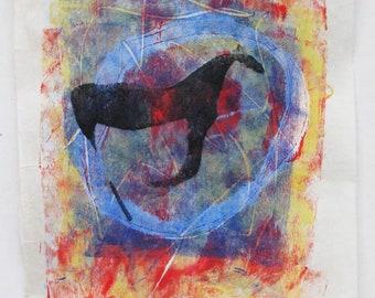 Galloping horse, monoprint on kozuke paper, original art