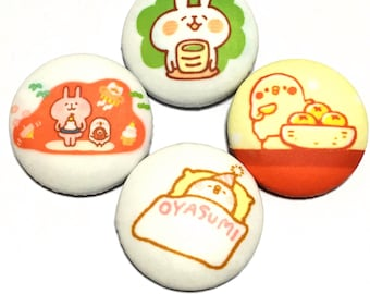 "covered button set  ""kanahei animals-ish"" (4) kawaii button"