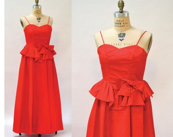 80s Vintage Bridesmaid Dress Red Size XXS XS// Vintage 80s Red Prom Dress Evening Gown Dress size XS Small Pageant Dress Southern Bell