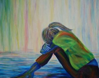 Art Peinture Femme assise Toile grand format Tableau artistique Peinture originale Décoration colorée Carré 80 x 80 cm 31 x 31 inch
