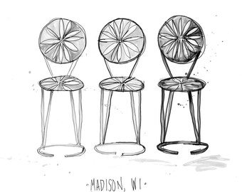 Madison, Wisconsin Terrace Chairs Pen and Ink Print