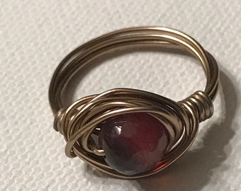 Brass wire wrapped red agate ring
