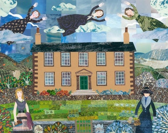 Sylvia Plath·Bronte Sisters·Virginia Woolf·Art Print·Collage·Haworth Parsonage·Birthday Gift for Booklovers·Writers Houses·Amanda White