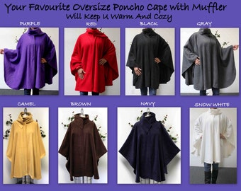 Ultimate Travelers Full Size Poncho, Plus Size Poncho, Fleece Cape, Fleece poncho, Warm, Soft, Comfortable, Stylish with Muffler. 12 colors