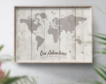 Pink map wood poster customised wedding map world map print grey travel map beach world map rustic places weve been map gumiabroncs Gallery