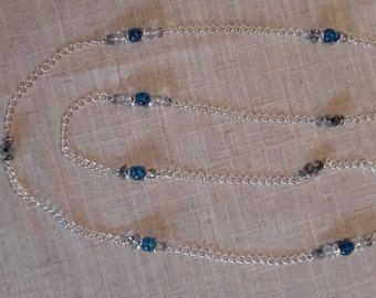 Long silver chain necklace, blue/crystal/silver beads