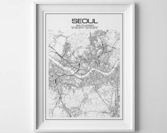 Seoul print, Seoul Poster, Wall art, Seoul map print, South Korea print, City poster, Typography art, Map of Seoul, City map, South Korea