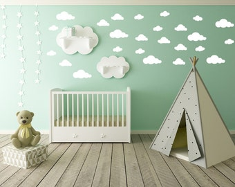 Cloud Wall Decal - Clouds Decal - Cloud Sticker - Kid Wall Decoration - Baby Room Decal - Nursery Wall Decal - Vinyl Stickers - Set of 25