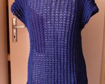 tunic spring T.38/42, sleeveless, knit-stitch lace - blue royal - DMC cotton.