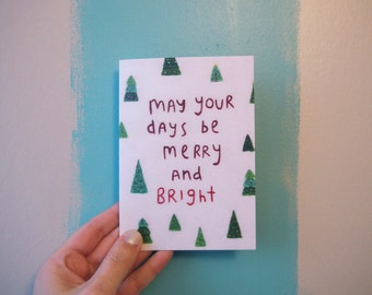 Merry and Bright Greeting Card - Christmas Card - Greeting Card - May Your Days Be Merry and Bright - Christmas Tree