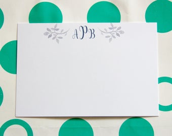Personalized Stationery // Blue Leaf Detail // Set of 25+