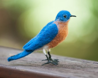 Bluebird wool felted handmade bird