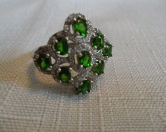Vintage Chrome Diopside White Zicon Sterling Silver Ring Size 8