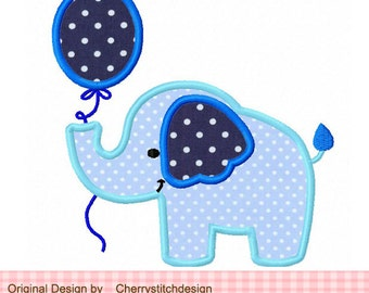 Elephant with balloon,Cute elephant applique,birthday design for baby boys and girls -4x4 5x5 6x6 inch- Machine Embroidery Applique Design