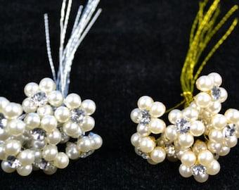 "5/8"" Rhinestone and Pearl Stem Bouquet -- Rhinestone Pearl Jewely Flowers"