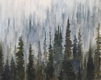 Pine forest, misty Forest, pine tree painting, forest watercolor, foggy forest, pines, tree painting, watercolor trees, tree watercolor
