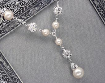 Pearl and Rhinestone Bridal Y Drop Necklace, Wedding Necklace for Sweetheart Neckline, Pearl Pendant Necklace