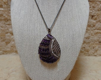 Amethyst, Oxidized Sterling Silver and CZ Necklace on 16 inch chain