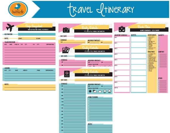 Editable digital planner travel planner printable vacation for Blank trip itinerary template