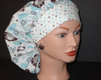 """The Perfect Sized Bouffant Scrub Hat...""""Baby"""" Animals/Blue and Brown w/Polka Dot Band...Surgical Hat/OR Scrub Hat"""