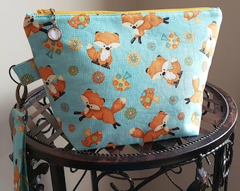 Fox Project Bag -Sock Sized -Project Bag for Knitting -Woodland Themed -Crochet -Yarn Themed Project Bag -Cosmetic Bag