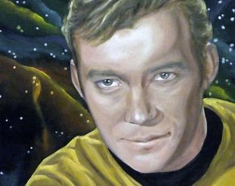 "Captain Kirk Star Trek William Shatner 8x8"" Print of Original Oil Painting"
