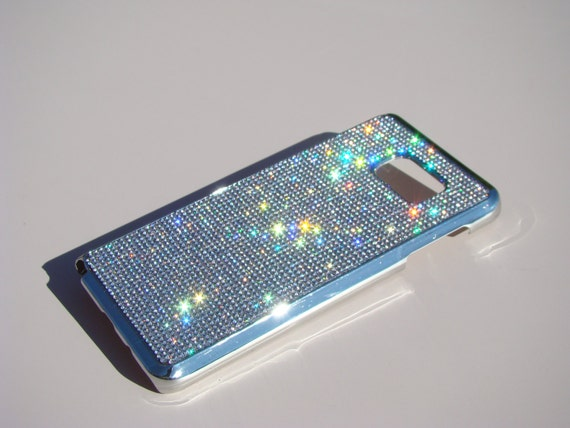 Galaxy Note 5 Clear Diamond Rhinestone Crystals on Silver Chrome Case. Velvet/Silk Pouch Bag Included, Genuine Rangsee Crystal Cases.