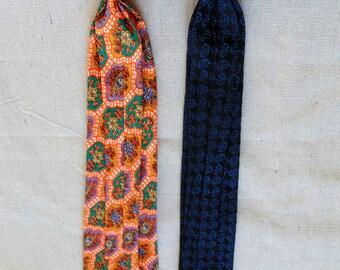 2 vintage tie bright retro small ties narrow skinny no tie