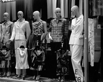 Urban mannequin Photography NYC storefront boutique new york black white city ladies clothing - I just love your hair - fine art photo