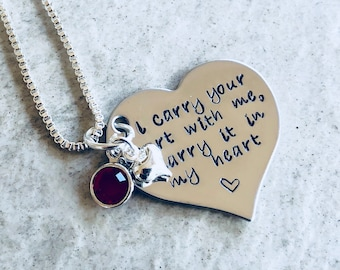 Sale Hand stamped personalized I carry your heart with me I carry it in my heart necklace with birthstone and heart charm