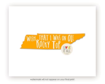 Tennessee Art Print . Go Big Orange Rocky Top . University of Tennessee . State Art Print Poster . Graphic Typography . Song Lyrics Quote