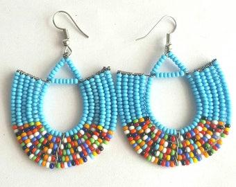 Beaded earrings, African jewelry, handmade earrings, blue earrings,