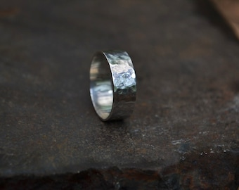 Sterling chunky men's ring band, wide textured sterling ring band, hammered sterling silver men ring band , simple sterling silver ring band
