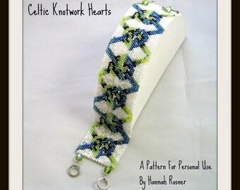 Bead Pattern Celtic Knotwork Hearts - Beaded Bracelet pattern - peyote stitch tutorial instructions by Hannah Rosner