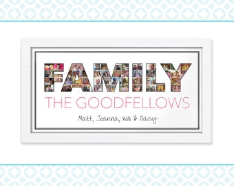 Custom Photo Montage - Word Art - Chose your own text - 30 40 50 60 birthday present