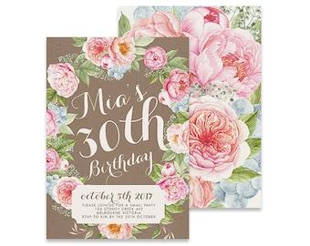 Printable Birthday Invitation | Blossom | Printable DIY Invite, Affordable Invitation, Digital Invite, Girl's Invite, 30th Birthday