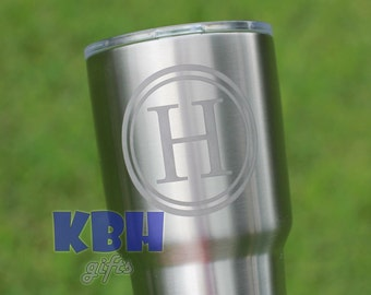 Etched Monogram Yeti or Ozark Trail Stainless Steel Tumbler 20 oz or 30 oz