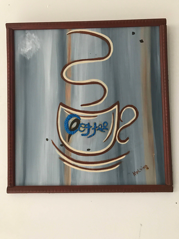 Acryl Holz malen Kaffee Tafel malen Acryl Wanddekoration