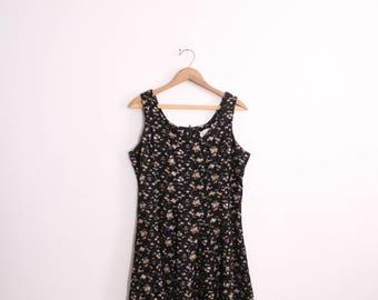 Black Flower 90s Mini Dress