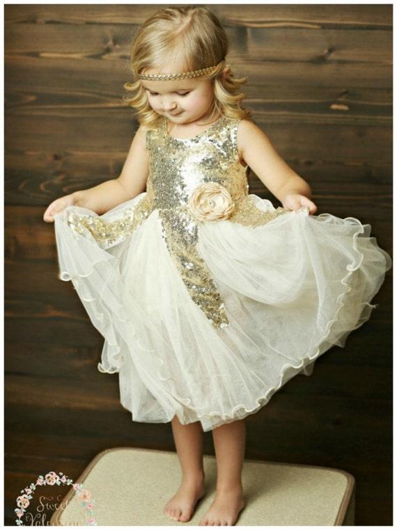 Gold sequin flower girl dress ivory and gold dress flower mightylinksfo