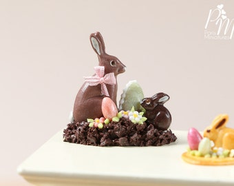 MTO-Chocolate Easter Rabbit Family Display (I) - Miniature Food in 12th Scale for Dollhouse