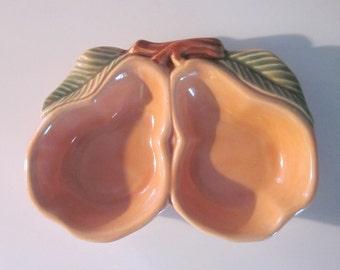 Three Vintage Ceramic Candy Dishes - Belmar Pottery 1950s - Double Pears - Wedding Buffet