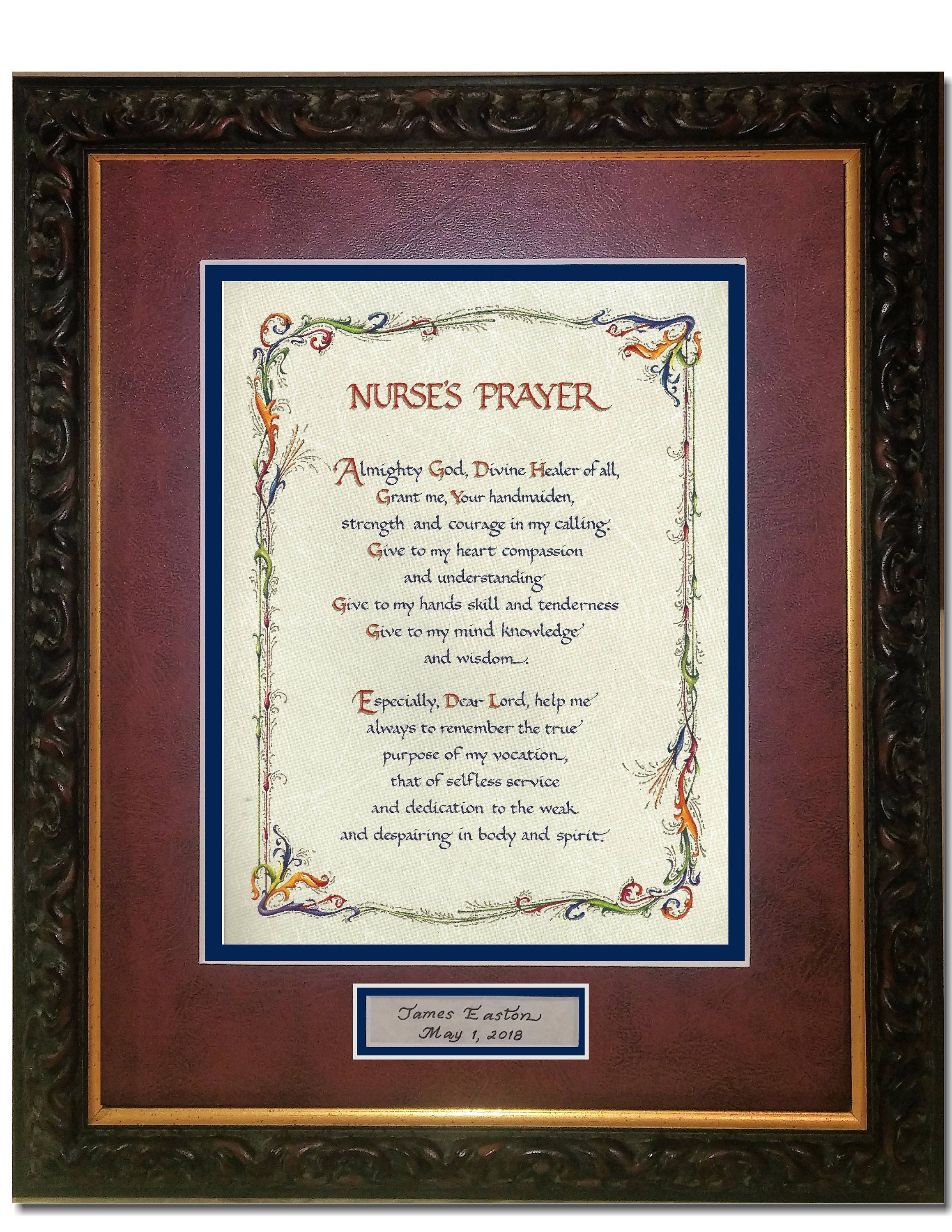 Personalized Nurses Prayer 8X10 double matted with dark