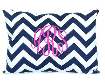 Monogram Pillow - 12 x 16 - Personalized Gift - Custom Pillow - Housewarming Gift - Decorative Pillow - Chevron Pillow - Nursery Decor