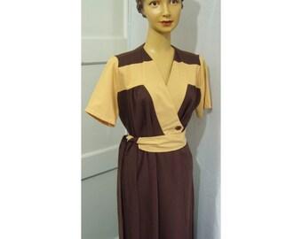 Two tone wrap dress 40s style