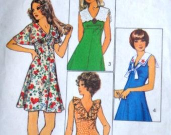 Sewing Pattern, Vintage 70's Simplicity 9863 Empire Waist Mini-Dress, Collar Interest, Size 12, 34 Bust, Retro 1970's, Spring Summer
