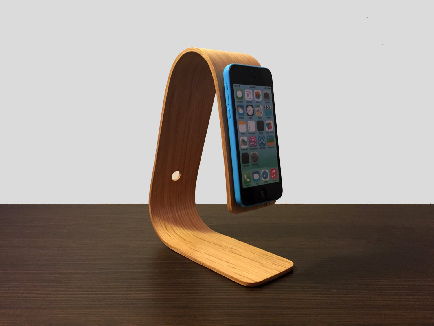 iPhone 5S 5 and 5C Plus bent plywood stand docking station