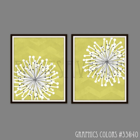 FLOWER Art Prints CHEVRON Wall Art MODERN Floral Wall Decor