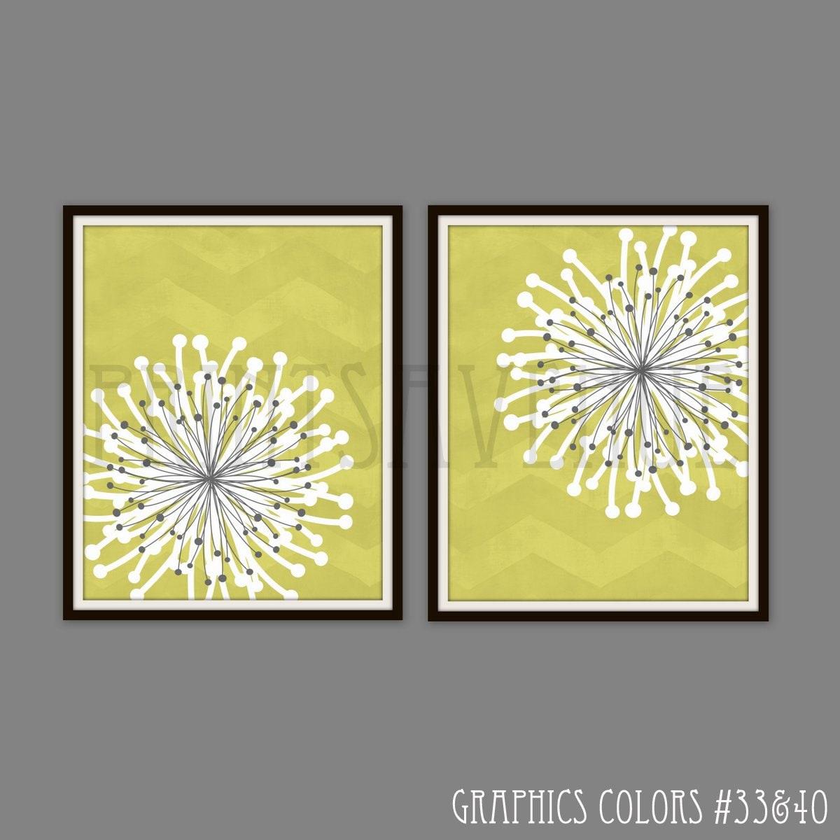 FLOWER Art Prints CHEVRON Wall Art MODERN Floral Wall Decor